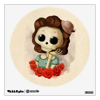 Little Miss Death and Roses Wall Decal