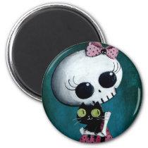 artsprojekt, skeleton, emo design, halloween, skull, emo, halloween girl, halloween gift, cute skeleton, skeleton girl, halloween design, horror, cute horror, halloween idea, cute skull, skeleton pin up, halloween pin up, cute, goth, halloween present, goth gift, goth present, emo present, emo gift, skeleton gift, skeleton present, Ímã com design gráfico personalizado