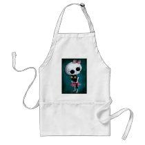 artsprojekt, skeleton, emo design, halloween, skull, emo, halloween girl, halloween gift, cute skeleton, skeleton girl, halloween design, horror, cute horror, halloween idea, cute skull, skeleton pin up, halloween pin up, cute, goth, halloween present, goth gift, goth present, emo present, emo gift, skeleton gift, skeleton present, Apron with custom graphic design