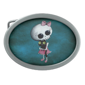Little Miss Death - Halloween Beauty Oval Belt Buckle