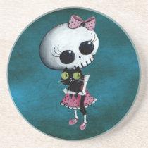 artsprojekt, skeleton, emo design, halloween, skull, emo, halloween girl, halloween gift, cute skeleton, skeleton girl, halloween design, horror, cute horror, halloween idea, cute skull, skeleton pin up, halloween pin up, cute, goth, halloween present, goth gift, goth present, emo present, emo gift, skeleton gift, skeleton present, Descanso para copos com design gráfico personalizado