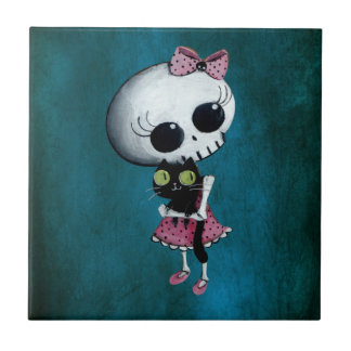 Little Miss Death - Halloween Beauty Small Square Tile