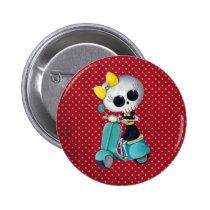 artsprojekt, cute skeleton, emo gift, skeleton, scooter, cute skull, scooter gift, skull, halloween, emo, vespa, lambretta, skeleton scooter, scooter rally, modette, emo illustration, cute, dead girl, mod, skeleton girl, scooter girl, scooter present, skeleton gift, skeleton present, emo present, Button with custom graphic design