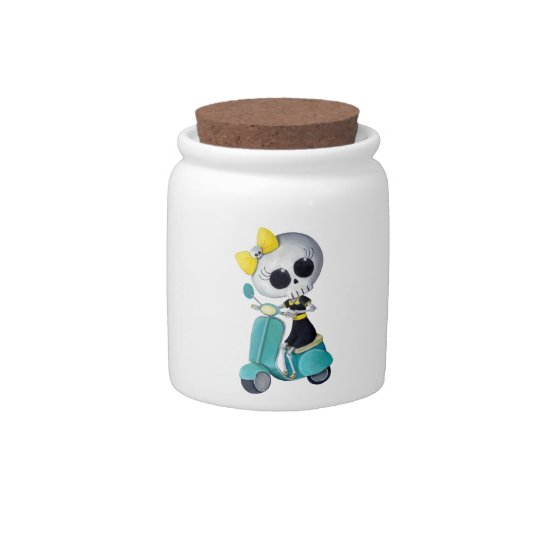 Little Miss Death on Scooter Candy Jar