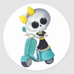 Little Miss Death on Scooter Classic Round Sticker