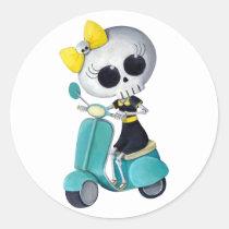artsprojekt, cute skeleton, emo gift, skeleton, scooter, cute skull, scooter gift, skull, halloween, emo, vespa, lambretta, skeleton scooter, scooter rally, modette, emo illustration, cute, dead girl, mod, skeleton girl, scooter girl, scooter present, skeleton gift, skeleton present, emo present, Sticker with custom graphic design