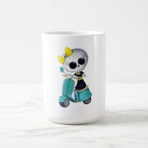 artsprojekt, cute skeleton, emo gift, skeleton, scooter, cute skull, scooter gift, skull, halloween, emo, vespa, lambretta, skeleton scooter, scooter rally, modette, emo illustration, cute, dead girl, mod, skeleton girl, scooter girl, scooter present, skeleton gift, skeleton present, emo present, Mug with custom graphic design