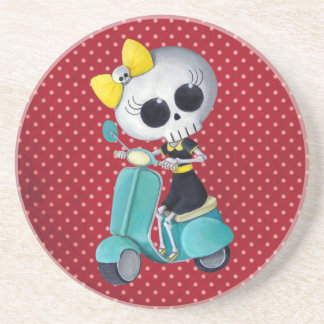 Little Miss Death on Scooter Drink Coaster