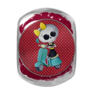 Little Miss Death on Scooter Jelly Belly Candy Jar