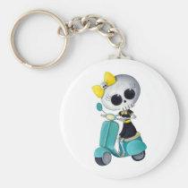 artsprojekt, cute skeleton, emo gift, skeleton, scooter, cute skull, scooter gift, skull, halloween, emo, vespa, lambretta, skeleton scooter, scooter rally, modette, emo illustration, cute, dead girl, mod, skeleton girl, scooter girl, scooter present, skeleton gift, skeleton present, emo present, Keychain with custom graphic design