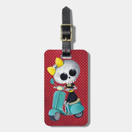 Little Miss Death on Scooter Luggage Tag