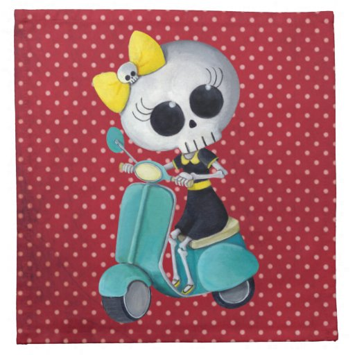 Little Miss Death on Scooter Napkins