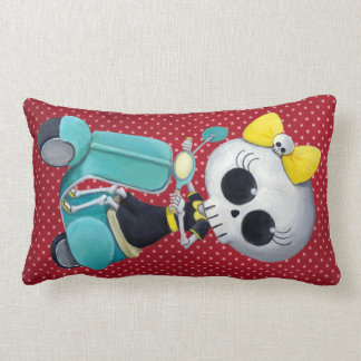 Little Miss Death on Scooter Throw Pillows