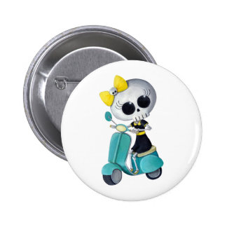 Little Miss Death on Scooter Pinback Button
