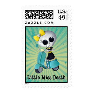 Little Miss Death on Scooter Postage Stamp