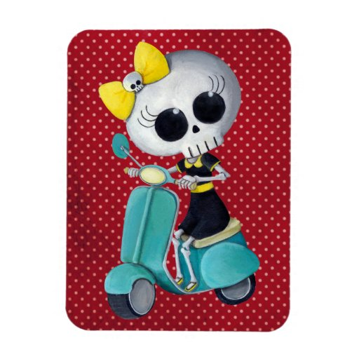 Little Miss Death on Scooter Rectangular Photo Magnet