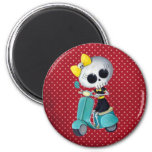 Little Miss Death on Scooter Refrigerator Magnets