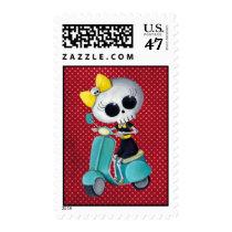 artsprojekt, cute skeleton, emo gift, skeleton, scooter, cute skull, scooter gift, skull, halloween, emo, vespa, lambretta, skeleton scooter, scooter rally, modette, emo illustration, cute, dead girl, mod, skeleton girl, scooter girl, scooter present, skeleton gift, skeleton present, emo present, Stamp with custom graphic design