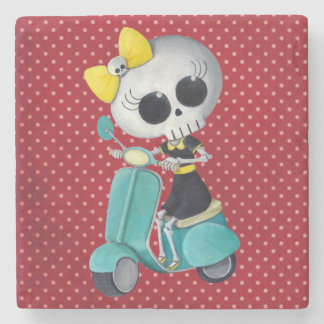 Little Miss Death on Scooter Stone Coaster