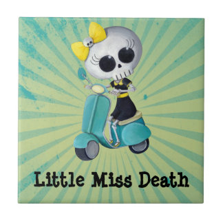 Little Miss Death on Scooter Small Square Tile