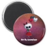 Little Miss Death Valentine 2 Inch Round Magnet