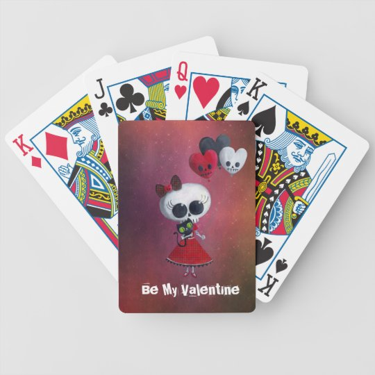 Little Miss Death Valentine Bicycle Playing Cards