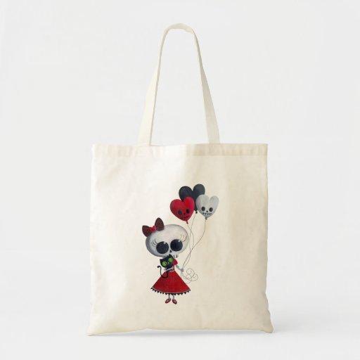Little Miss Death Valentine Girl Budget Tote Bag