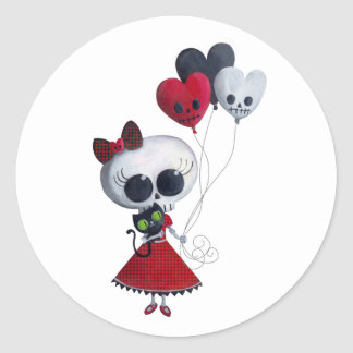 Little Miss Death Valentine Girl Classic Round Sticker