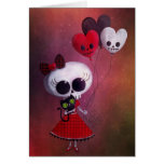 Little Miss Death Valentine Girl Greeting Card