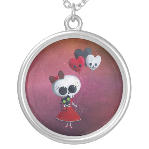 Little Miss Death Valentine Girl Personalized Necklace