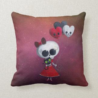 Little Miss Death Valentine Girl Throw Pillow