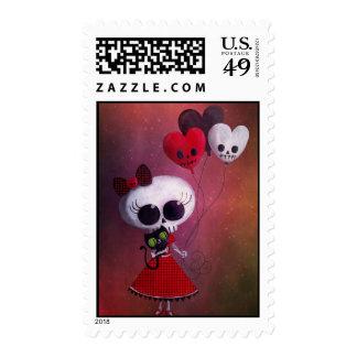 Little Miss Death Valentine Girl Stamps