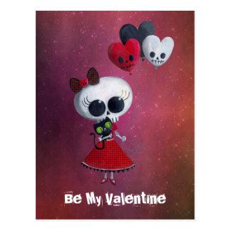 Little Miss Death Valentine Postcard