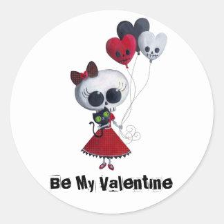 Little Miss Death Valentine Round Stickers