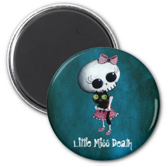 Little Miss Death with Black Cat 2 Inch Round Magnet