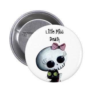 Little Miss Death with Black Cat 2 Inch Round Button