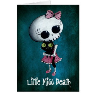 Little Miss Death with Black Cat Greeting Cards