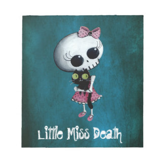 Little Miss Death with Black Cat Note Pad