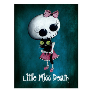 Little Miss Death with Black Cat Postcard