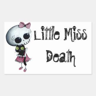 Little Miss Death with Black Cat Rectangular Sticker