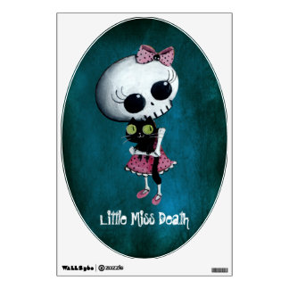 Little Miss Death with Black Cat Wall Sticker
