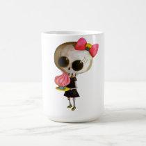 artsprojekt, cupcake gift, halloween gift, emo gift, skull, cupcake, skeleton, cute skeleton, halloween, cute halloween, halloween idea, halloween illustration, emo, emo design, skeleton girl, trick or treat, little miss death, cute, cupcake present, emo present, skeleton present, skeleton gift, Mug with custom graphic design