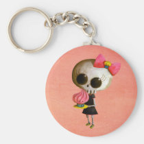 artsprojekt, cupcake gift, halloween gift, emo gift, skull, cupcake, skeleton, cute skeleton, halloween, cute halloween, halloween idea, halloween illustration, emo, emo design, skeleton girl, trick or treat, little miss death, cute, cupcake present, emo present, skeleton present, skeleton gift, Keychain with custom graphic design