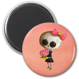 Little Miss Death with Cupcake 2 Inch Round Magnet