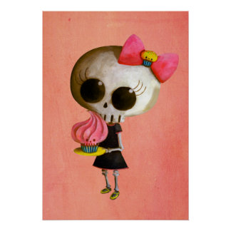Little Miss Death with Cupcake Poster