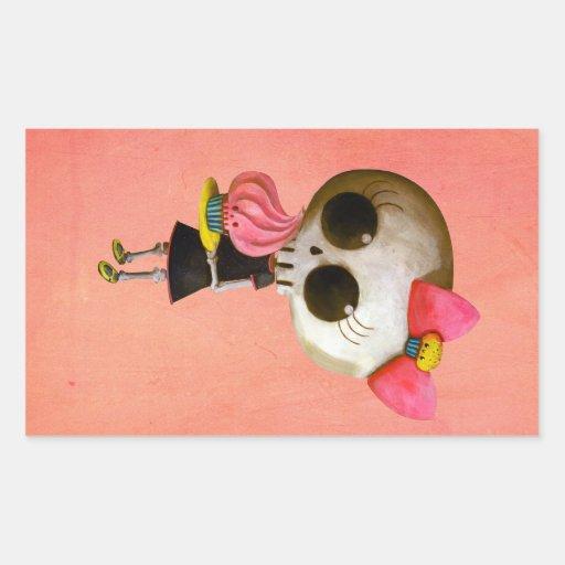 Little Miss Death with Cupcake Rectangular Sticker