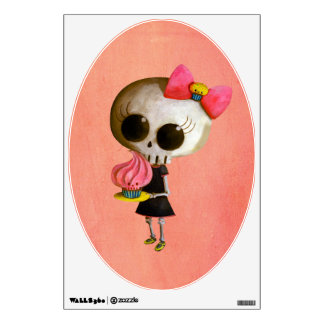 Little Miss Death with Cupcake Wall Sticker