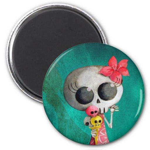 Little Miss Death with Halloween Ice Cream 2 Inch Round Magnet