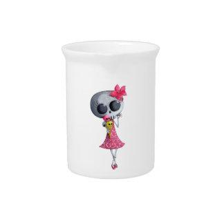 Little Miss Death with Halloween Ice Cream Beverage Pitchers