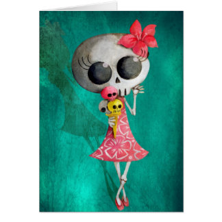 Little Miss Death with Halloween Ice Cream Greeting Card